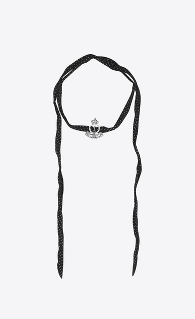 SAINT LAURENT Short Necklaces D ARMY Crown Choker in Silver-Toned Metal, Clear Crystal and Black Silk a_V4