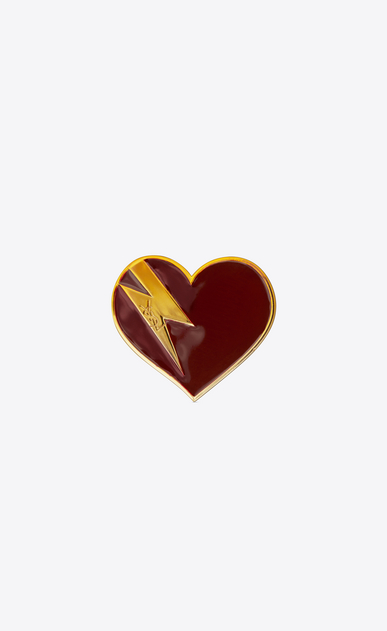 SAINT LAURENT Brooch D HEART & BOLT Brooch in Gold-Toned Brass and Burgundy and Orange Enamel a_V4