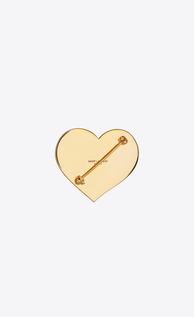 SAINT LAURENT Brooch Donna Spilla HEART & BOLT in ottone dorato e smalto burgundy e arancione b_V4
