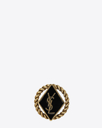 SAINT LAURENT Brooch D ARMY Braided Brooch in Gold Tin and Brass and Black Enamel f