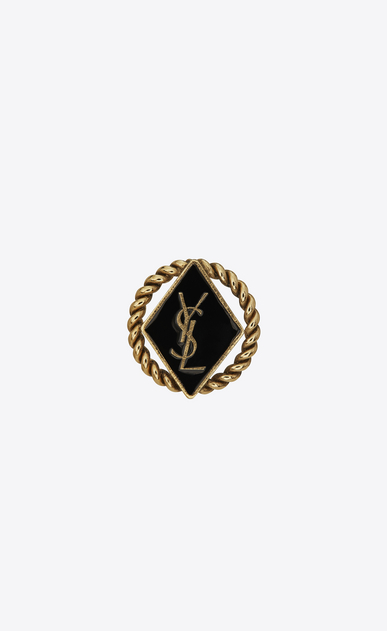 SAINT LAURENT Brooch D ARMY Braided Brooch in Gold Tin and Brass and Black Enamel v4