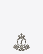 SAINT LAURENT Brooch D ARMY Crown Brooch in Silver-Toned Metal and Clear Crystal f
