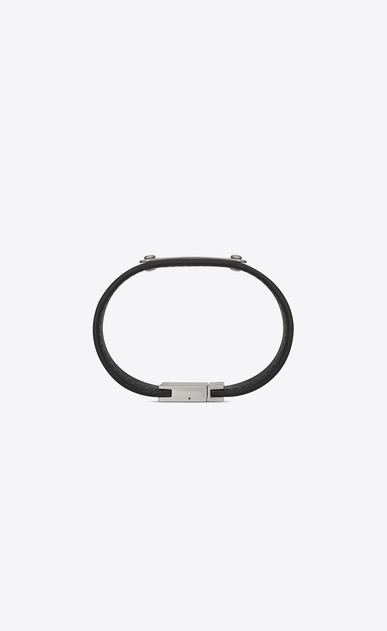 SAINT LAURENT Leather Bracelets Man ID Bracelet in Black Moroder Leather and Oxidized Nickel b_V4