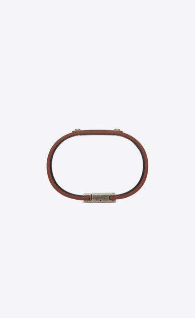 SAINT LAURENT Leather Bracelets U ID Bracelet in Brown Leather and Brushed Silver-Toned Metal b_V4