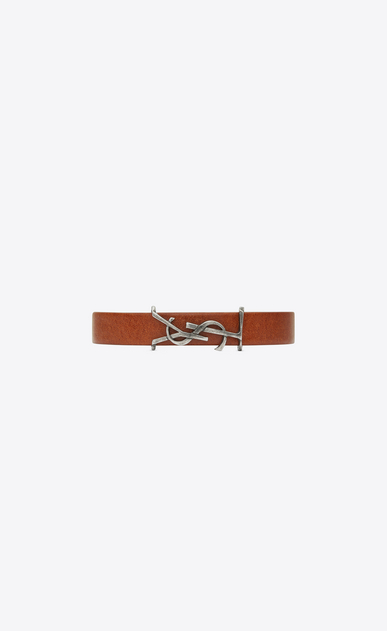 SAINT LAURENT Leather Bracelets U MONOGRAM Bracelet in Brown Leather and Brushed Silver-Toned Metal a_V4