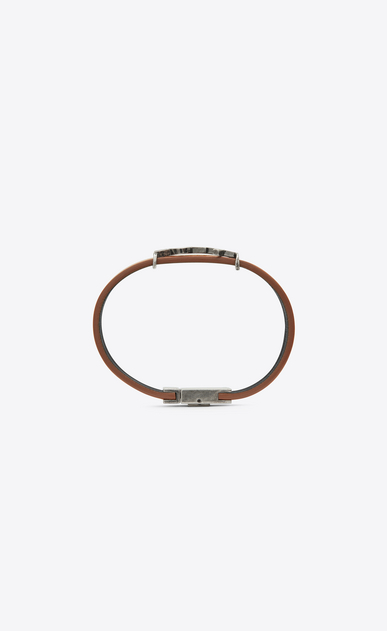 SAINT LAURENT Leather Bracelets Man bracelet in brown leather and brushed silver-toned metal b_V4