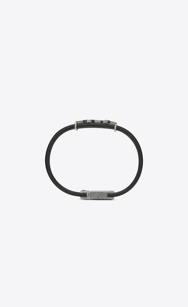 SAINT LAURENT Leather Bracelets Man bracelet in black leather and brushed silver-toned metal b_V4