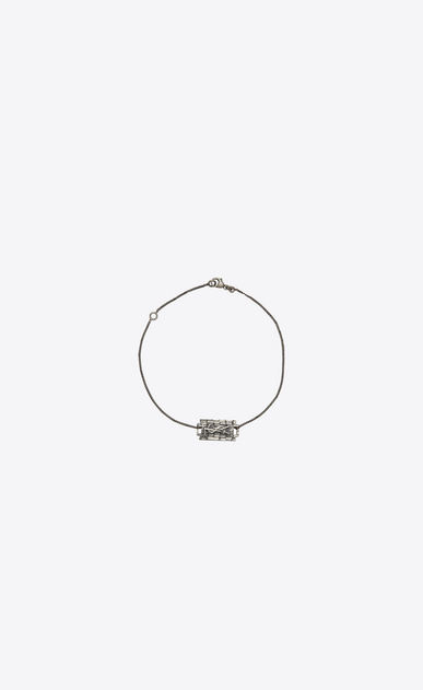 SAINT LAURENT Bracelets U RAZOR BLADE Bracelet in Oxidized Silver-Toned Crocodile Textured Brass a_V4