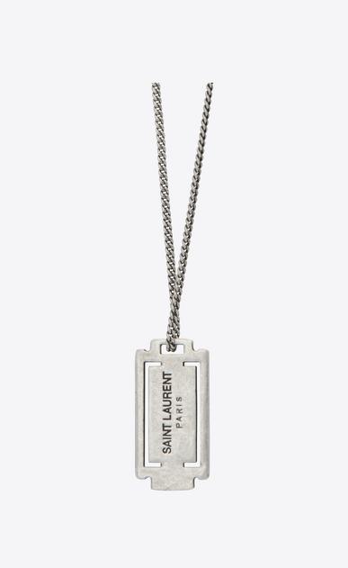 SAINT LAURENT Short Necklaces U RAZOR BLADE Pendant Necklace in Oxidized Silver-Toned Brass b_V4