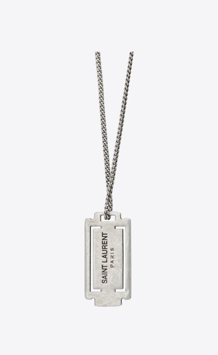 Saint laurent razor blade pendant necklace in oxidized silver toned razor blade pendant necklace in oxidized silver toned brass altavistaventures Gallery