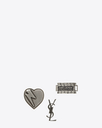 SAINT LAURENT Brooch U RAZOR BLADE 3 Pin Set in Oxidized Silver-Toned Brass f