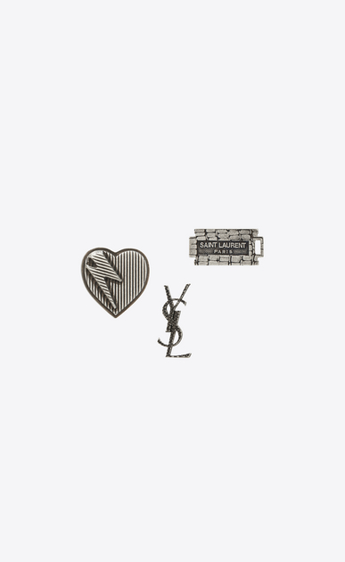 SAINT LAURENT Brooch U RAZOR BLADE 3 Pin Set in Oxidized Silver-Toned Brass a_V4