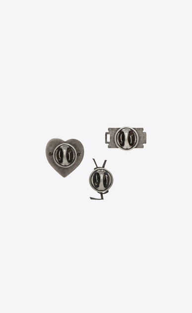 SAINT LAURENT Brooch U RAZOR BLADE 3 Pin Set in Oxidized Silver-Toned Brass b_V4
