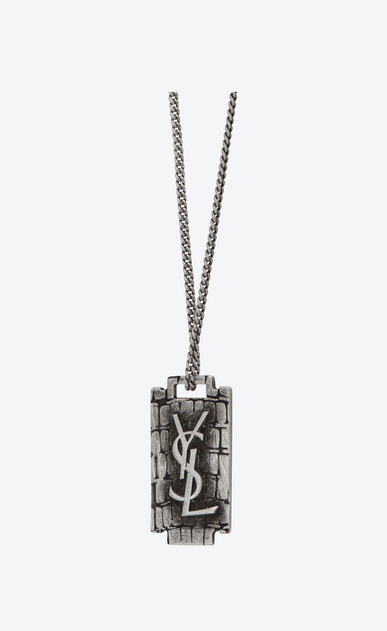 SAINT LAURENT Short Necklaces U RAZOR BLADE Pendant Necklace in Oxidized Silver-Toned Crocodile Textured Brass b_V4