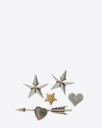 SAINT LAURENT Brooch U ARMY 5 Pin Set in Old Silver and Old Gold-Toned Brass and Green Crystal f