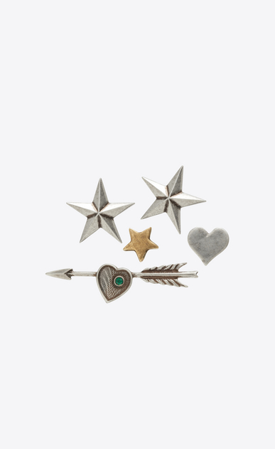 SAINT LAURENT Brooch U ARMY 5 Pin Set in Old Silver and Old Gold-Toned Brass and Green Crystal a_V4