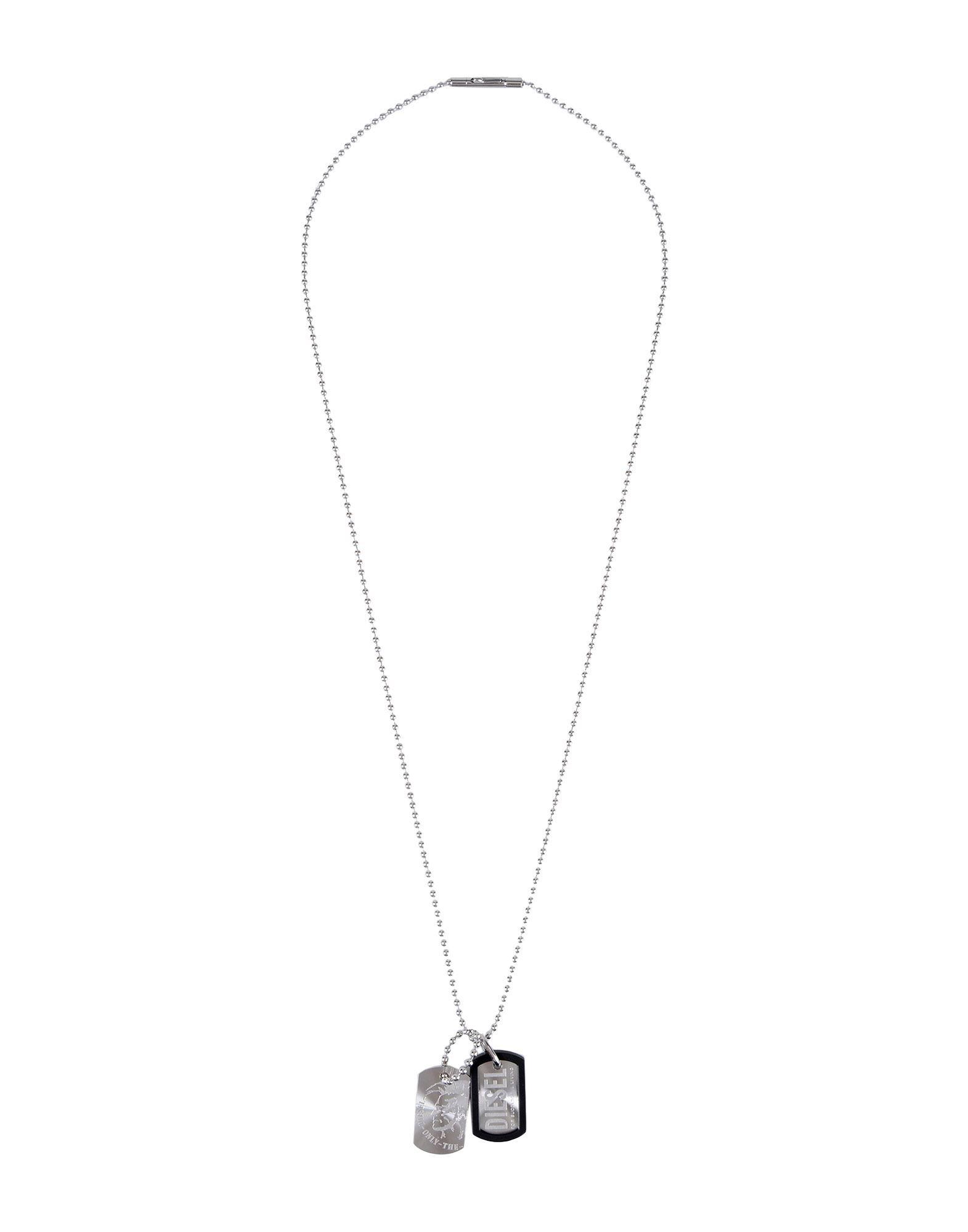 《セール開催中》DIESEL メンズ ネックレス シルバー スチール / ポリウレタン DOUBLE DOGTAGS