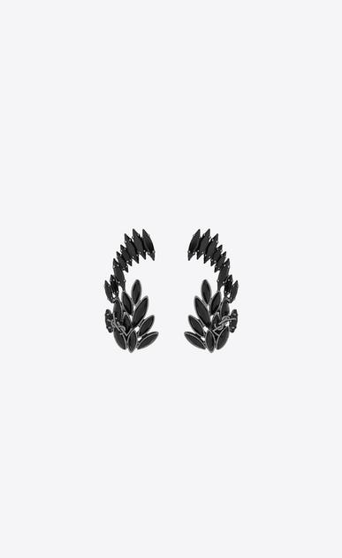 SAINT LAURENT Earrings D Climbing earrings in metal and black crystals v4