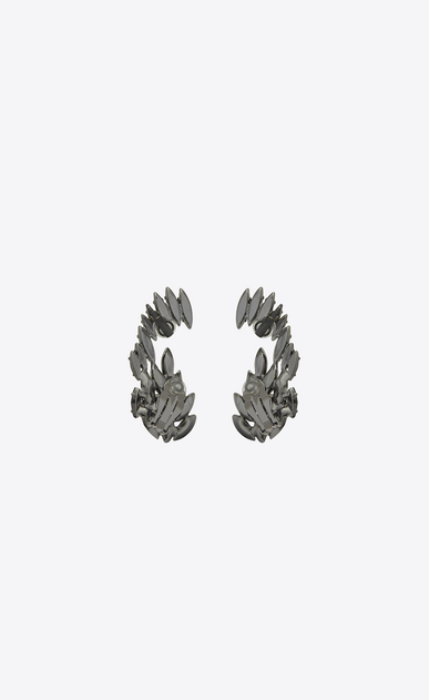 SAINT LAURENT Earrings Woman Climbing earrings in metal and black crystals b_V4
