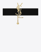 SAINT LAURENT Short Necklaces D MONOGRAM choker in light gold-toned brass and black velvet f