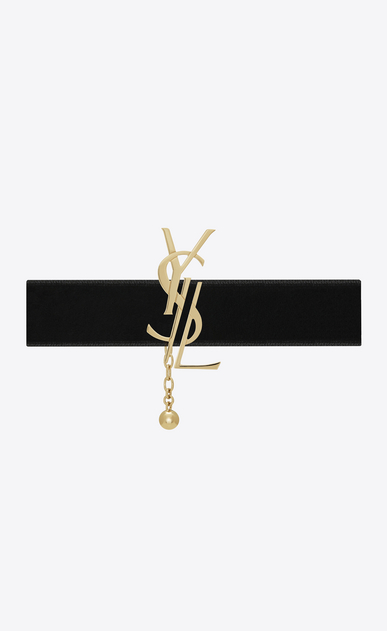 SAINT LAURENT Short Necklaces D MONOGRAM choker in light gold-toned brass and black velvet a_V4
