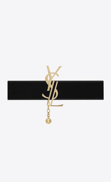 SAINT LAURENT Kurze Ketten D Anliegende MONOGRAM Halskette aus hellgoldfarbenem Messing und schwarzem Samt a_V4