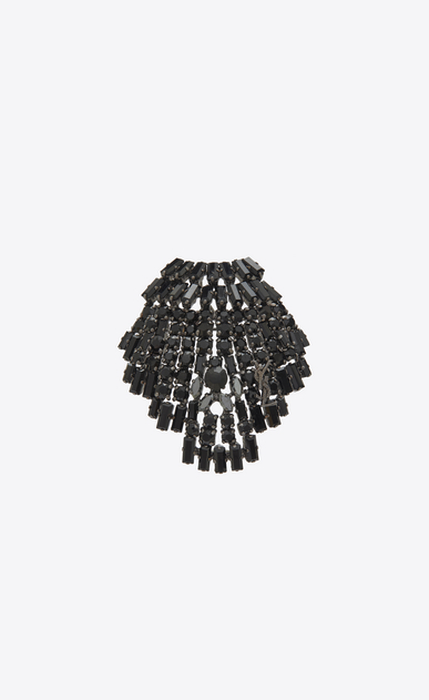 SAINT LAURENT Brooch D SMOKING seashell brooch in brass and black crystals a_V4