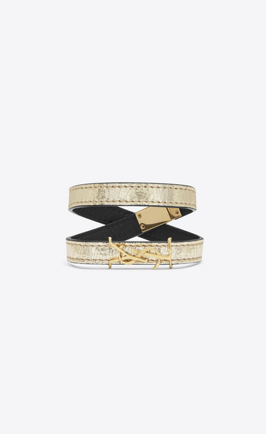 SAINT LAURENT Leather Bracelets Woman MONOGRAM double wrap bracelet in cracked leather and gold-toned leather a_V4