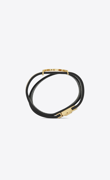 SAINT LAURENT Leather Bracelets Woman MONOGRAM double wrap bracelet in cracked leather and gold-toned leather b_V4