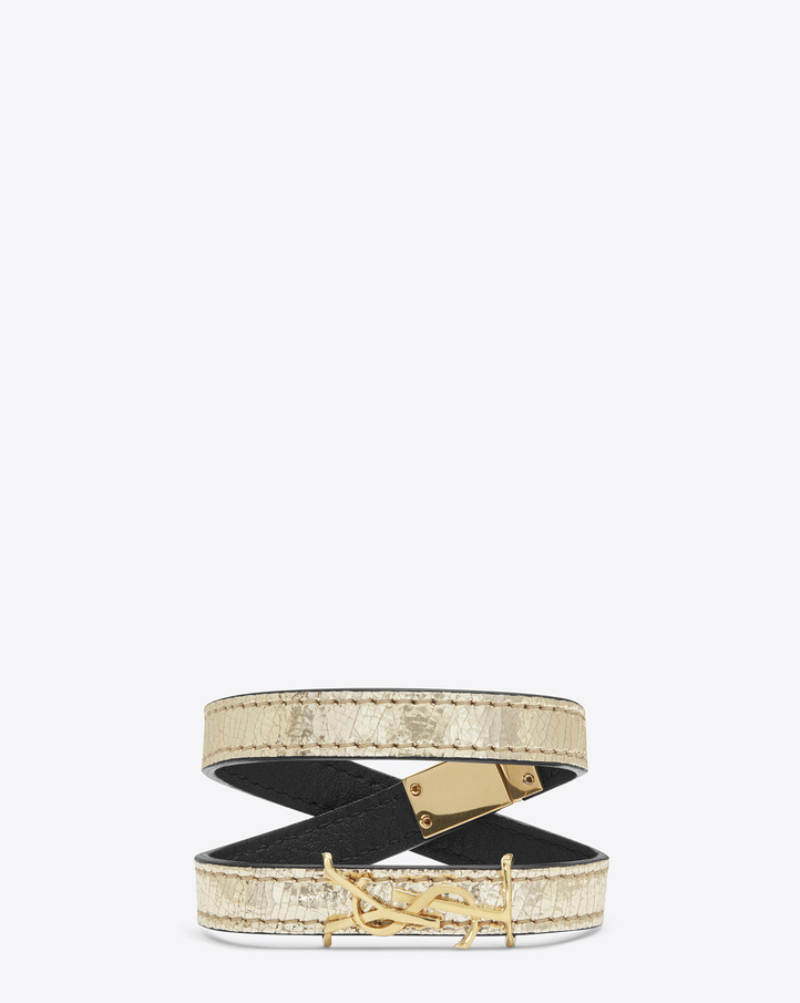saint laurent monogram double wrap bracelet in cracked leather and gold toned leather