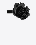 SAINT LAURENT Short Necklaces D Choker in black patent leather adorned with a rose f