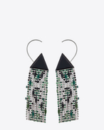 SAINT LAURENT Earrings D SMOKING resin triangle earrings in brass and white, green and black crystals f