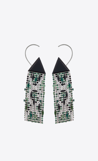 SAINT LAURENT Earrings D SMOKING resin triangle earrings in brass and white, green and black crystals a_V4