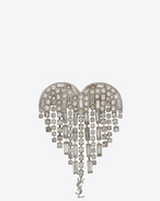 SAINT LAURENT Brooch D SMOKING shooting heart brooch in brass and white crystals f