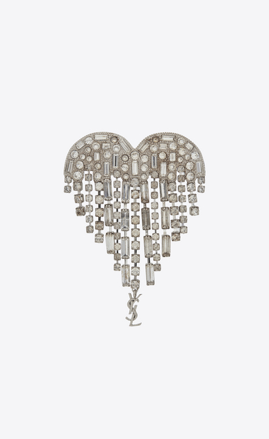 SAINT LAURENT Brooch Woman SMOKING shooting heart brooch in brass and white crystals a_V4