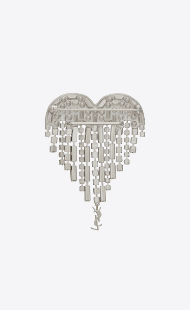 SAINT LAURENT Brooch Donna Spilla SMOKING heart in ottone e cristalli bianchi b_V4