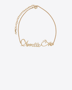 "SAINT LAURENT Short Necklaces D ""APPELLE MOI"" chain choker in gold-toned brass f"