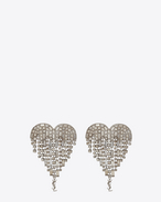 SAINT LAURENT Earrings D SMOKING shooting heart earrings in brass and white crystals f