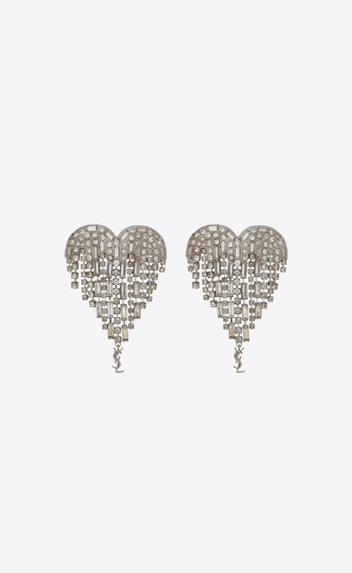 SAINT LAURENT Earrings D SMOKING shooting heart earrings in brass and white crystals a_V4