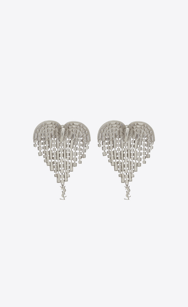 SAINT LAURENT Earrings D SMOKING shooting heart earrings in brass and white crystals b_V4