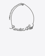 "SAINT LAURENT Short Necklaces D ""RENDEZ-VOUS"" chain choker in silver-toned brass and crystals f"