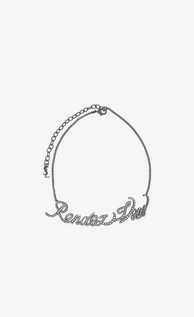 """SAINT LAURENT Short Necklaces D """"RENDEZ-VOUS"""" chain choker in silver-toned brass and crystals v4"""