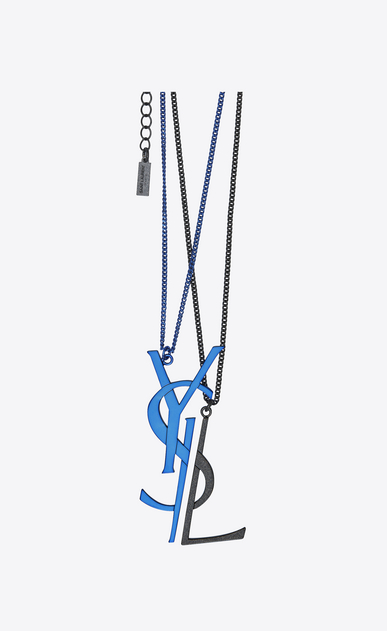 SAINT LAURENT Short Necklaces D MONOGRAM necklace with deconstructed pendants in blue and black brass b_V4