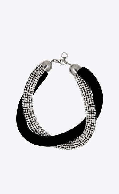 SAINT LAURENT Short Necklaces D SMOKING twisted choker in black velvet and crystals v4