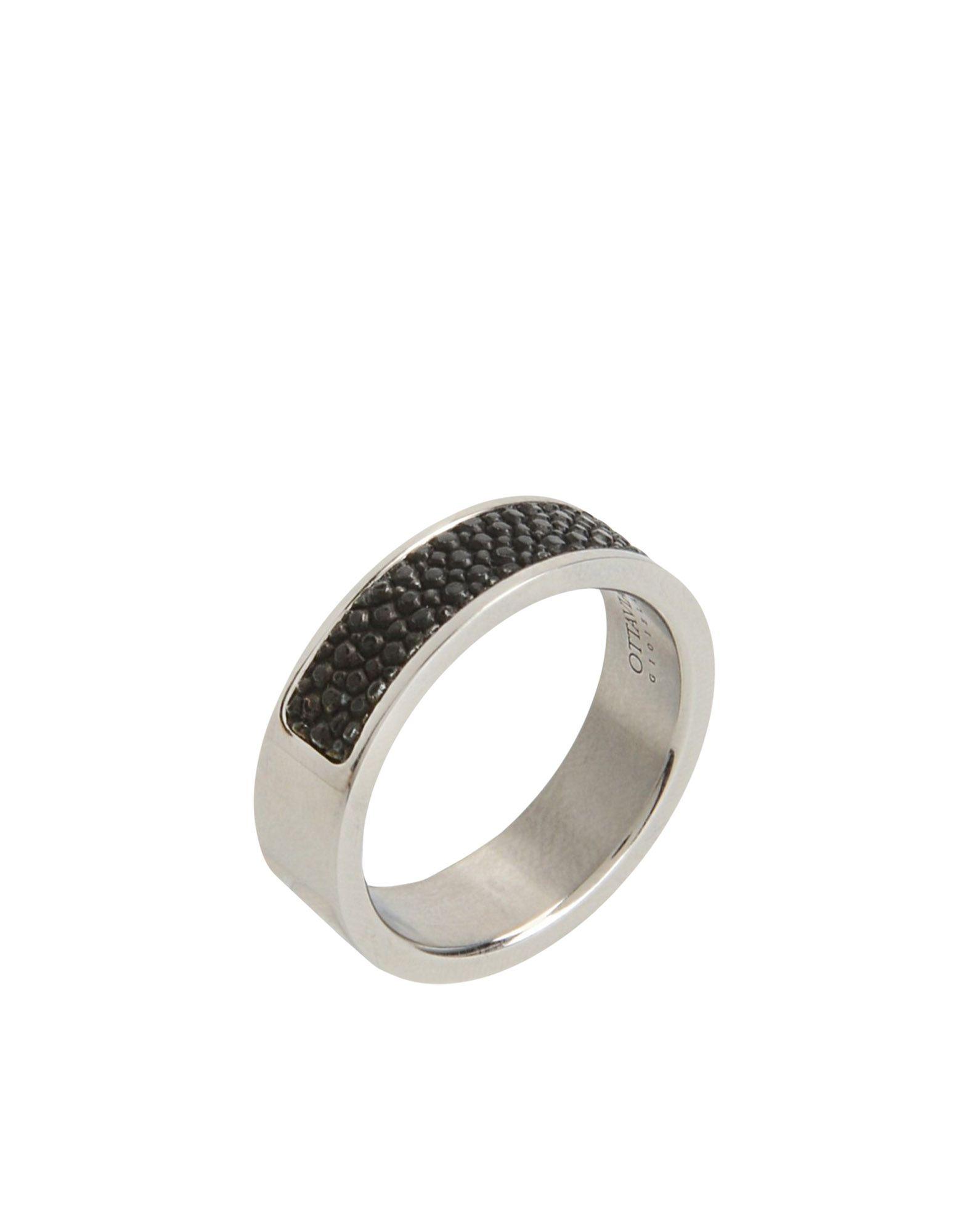 《送料無料》OTTAVIANI メンズ 指輪 シルバー one size ステンレススチール / 革