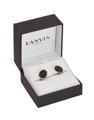 Rhodium-plated metal cuff links
