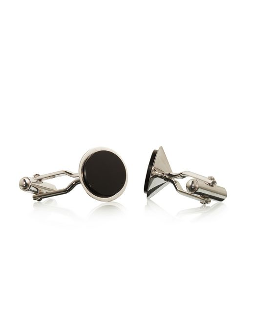 lanvin rhodium-plated metal cuff links  men