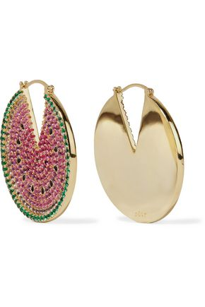 NOIR JEWELRY Gold-tone crystal and enamel earrings