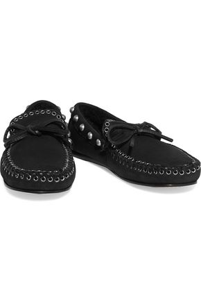 ISABEL MARANT Etty studded shearling-lined leather moccasins