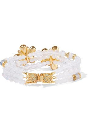 BEN-AMUN Gold-plated beaded, resin and crystal bracelet